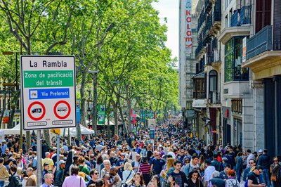 People walking in La Rambla of Barcelona